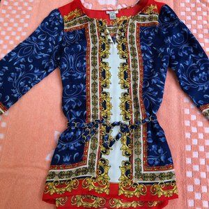 Cache Women Paisley Red Blue Gold Soft Tunic
